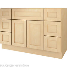 "Bathroom Vanity Drawer Base Cabinet Natural Maple Shaker 48"" Wide x 21"" Deep New"