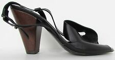 New Women's Anthropologie Black Leather Sandals Size EU 37 US 6.5 7 Beach