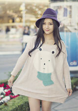 Asian Japanese Womens Fashion Style Casual Cute Oversize Loose Bear Head Top