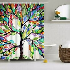 Bathroom Art Decor Colorful Tree Shower Curtain Polyester Fabric 12 Hooks 70x70""