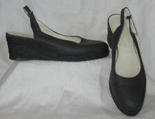 BRUNO MAGLI Black Leather Espadrille Wedge Slingback Shoes Made In Italy Sz 39