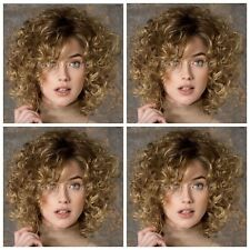 New Style~Fashion Women's Short Brown Blonde Mixed Curly Wave Full wigs+Wig Cap