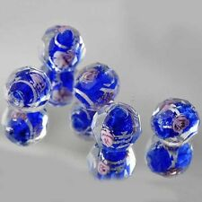 5 PCS Royal Blue CZ Murano Glass FootBall Loose Beads Charms Fit  DIY A2794