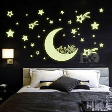 Glow in Dark Moon Star Removable Wall Sticker Vinyl Decal Mural Kids Room Decor