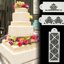 3pcs Damask Flower Cake Stencil Border Decor Mould Side Lace Sugarcraft Mold