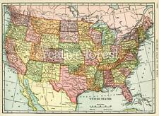 UNITED STATES OF AMERICA, Vintage Map Reproduction Rolled CANVAS PRINT 32x24 in.