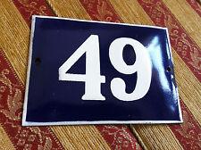 ANTIQUE VINTAGE FRENCH ENAMEL SIGN HOUSE NUMBER 49  DOOR GATE SIGN 1950's