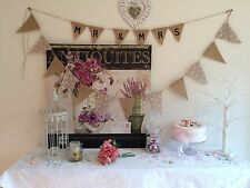 9ft Vintage Rustic Hessian Burlap & Lace Bunting Banner Wedding Christening