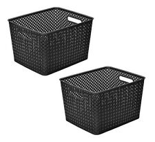 Resin Wicker Storage Tote Plastic Bins Basket Weave Handles Large Black Set of 2