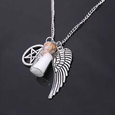 Vintage Fashion Women Lucky Glass Wishing Bottle Wing Star Pendant Necklace Gift