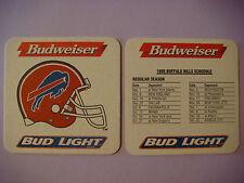 Beer Coaster Mat: Budweiser Bud Light ~ BUFFALO BILLS 1996 NFL Football Schedule