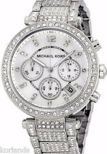 NEW MICHAEL KORS PARKER SILVER SWAROVSKI GLITZ MK5572 CHRONO LADIES WATCH $350!