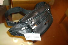 Mens Black Real Cowhide Leather Waist/Bum Bag From  Lorenz New And Tagged