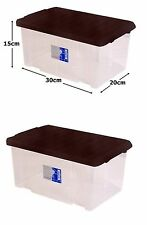 2 x 7L Clear Plastic Small Storage Shoe Toys Tools Craft Supplies Box with Lid