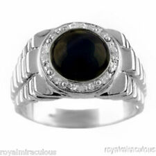 Mens Onyx & Diamond Ring Sterling Silver Role Design