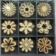 45 X WOODEN FANTASY FLOWER SHAPES EMBELISHMENTS BOXED  CARD MAKING TOPPERS