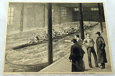 1889 magazine engraving ~ AQUATIC EXERCISE IN WINTER Harvard Boat-Crew, MA