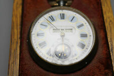 Antique 19th Century Moonphase & 3 Apertures Gun Metal Fob Watch w Original Case