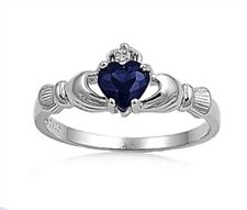 Ladies 925 Sterling Silver Blue Sapphire CZ Heart Irish Claddagh Ring Size 11 V