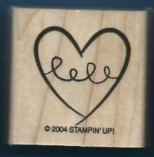 HEART SWIRL 2004 love card  Stampin' Up! Wood Mount Craft Hobby Rubber Stamp