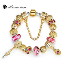 Key to Heart Irish Style Flower Murano Glass Beaded Gold Plated Charms Bracelet