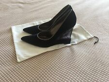 New Women's Casadei High Wedge Shoes Black  Size 8