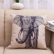 Vintage Elefante Cotone Lino Federa Vita Copriletto Copricuscino Divano