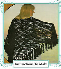 Vintage retro crochet pattern- how to make a  pretty & easy lace fringed shawl