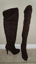 New Women's Forever 21 Suedette Over the Knee Boots-Dark Brown (Size 7)