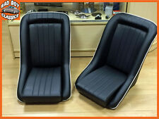 Pair BB1 WHITE Piping Classic Style Clubman Bucket Sports Seats Ideal MGB Midget
