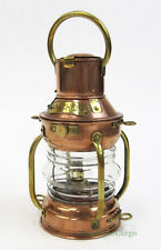 "Small Ship's Anchor Copper Oil Lamp Lantern 9"" Fresnel Lens Nautical Decor"