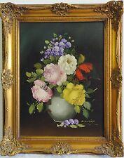 R. Rosini signiert - Stillleben Gemälde: BUNTER BLUMENSTRAUSS IN BAUCHIGER VASE