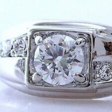 MAN+WOMANS 18K WHITE GOLD ON SILVER 1.6 CT. SIMULATED MOISSANITE RING_SZ 10+1/2