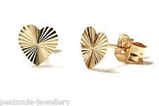 9ct Gold Tiny Diamond Cut Heart Stud Earrings Boxed Made in UK