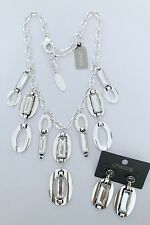 """NWT CHICO'S SILVER TONE CUT CRYSTAL 21"""" NECKLACE+EARRINGS SET"""