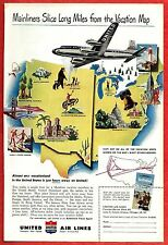 1949 Ad ~ UNITED AIR LINES Airlines~Mainliners Slice Miles from the Vacation Map