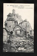 C1918 View of war damage to the church, Moussy, France during WW1