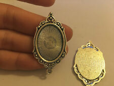5 small oval setting blanks picture photo frame pendant tibetan silver antique -