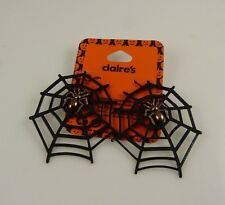 Gothic copper spider and web halloween bling earrings spiders costume accessory