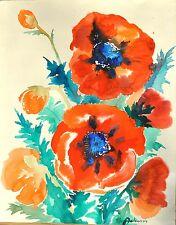 Hans Heinrich Adam 1919-2007 Mohnblumen ORIGINAL Aquarell