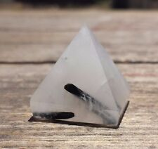 NATURAL TOURMILATED QUARTZ SMALL GEMSTONE PYRAMID 20-22mm