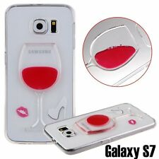 For Samsung Galaxy S7 - Red Wine Glass Liquid Alcohol Silicone Rubber Skin Case