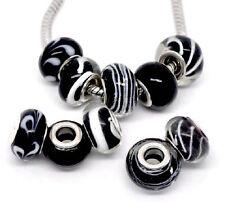 2 Perles Lampwork Verre Noir pour Bracelet Charme