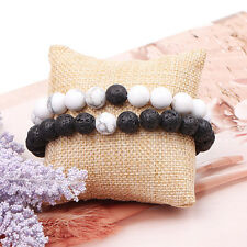 2pcs Couples His & Her Distance Bracelet Lava Bead Matching YinYang Lovers Gifts
