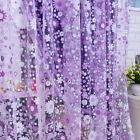 Purple Floral Tulle Voile Window Curtain Drape Sheer Scarf Valances Home Decor