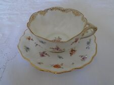 ANTIQUE DRESDEN GORGEOUS HAND PAINTED AMBROSIUS LAMM CUP & SAUCER.