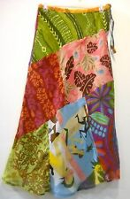 NWT SACRED THREADS FUNKY PATCH FLORAL FLARED RAYON SHEER LINED SKIRT M DEFECT