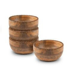 The GG Collection Heritage Mango Wood Set of 4 Beaded Edge Small Bowls