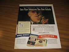 1946 Print Ad Bond Street & Revelation Pipe Tobacco You Can Inhale Man Smokes