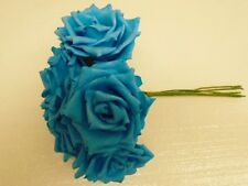 6 Stems TURQUOISE Open Rose Foam Artificial Flowers Bundle 741TQ
